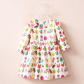 Y1855238 Retail 2016 New Spring Fashion Baby Girls Dresses Printing Birds Toddler Girl Dresses Princess Lolita Pink