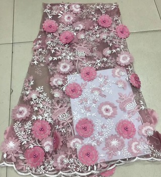 High Quality 3D applique Lace Fabrics cut lace African French Net Lace Fabric Embroidered Tulle Mesh Fabric ML6860