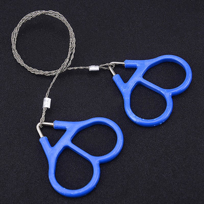 Stainless Steel Hand Pocket Chain Wire Saws Portable Survival Cutting Tools Camping Handsaws Blue 65cm