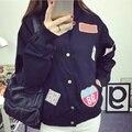 Uwback 2016 New  Bomber Jacket Women Print Letter Oversized Pocket Outwear BF Style Pink/White Windbreak Harajuku Jacket  XB438