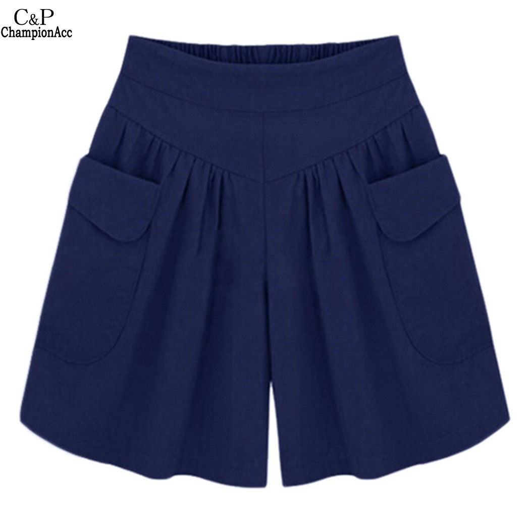 FANALA Women Shorts Summer Plus size Short Women Wide Leg Female Pocket Elastic Shorts Casual Loose Ladies High Waist pantalones