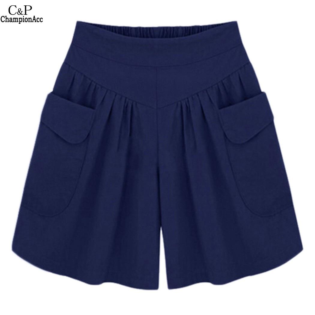 FANALA Women Shorts Summer Plus size Short Women Wide Leg Female Pocket Elastic Shorts Casual Loose Ladies High Waist pantalones