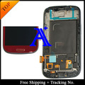 Free Shipping 100%  tested 4.8 ' Super AMOLED For Samsung Galaxy S3  i9300 LCD  Digitizer Assembly with frame
