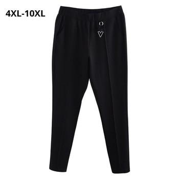 Plus rozmiar 10XL 8XL 6XL 4XL kobiety długie kobiece spodnie elastyczne wysokiej talii czarny kolor długi ołówek spodnie Pantalones Mujeres