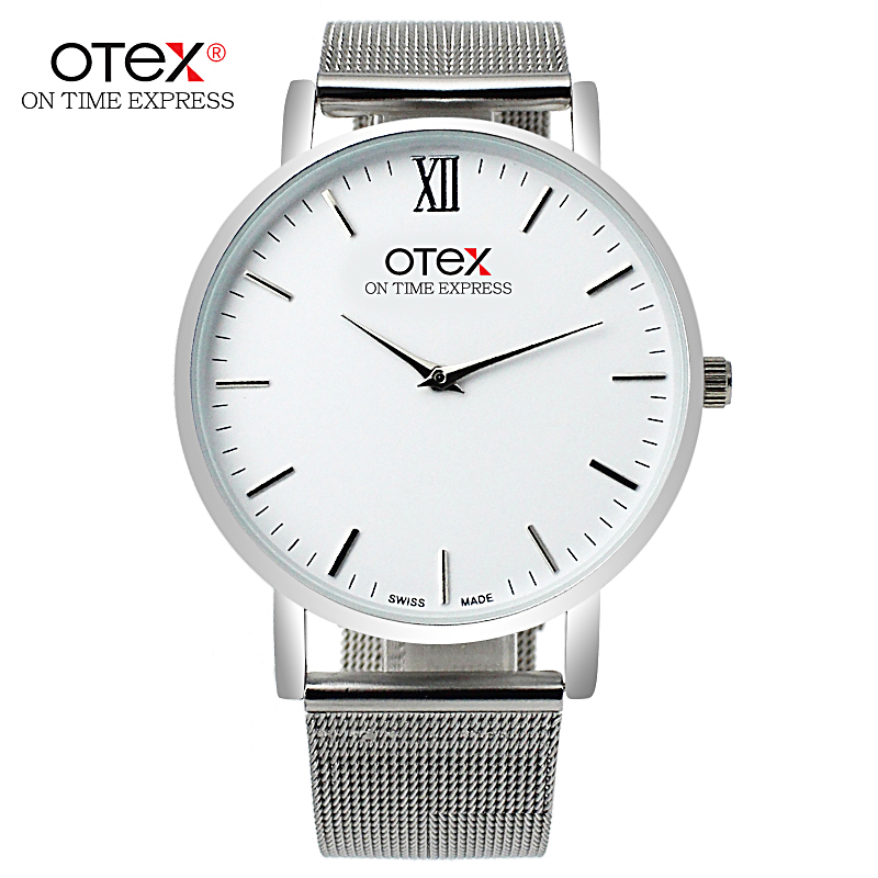 Top Brand OTEX Men Watch Stainless Steel Band Analog Display Quartz Wristwatch Ultra Thin Dial Men's Watches Relogio Masculino mens stainless steel band watch with big round dial male analog quartz metal sports wristwatch relogio masculino montre homme