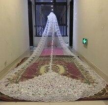 Velo De novia De lentejuelas, 3M/5M De largo, Blanco/marfil con peine, cuentas De encaje, Mantilla, accesorios De boda