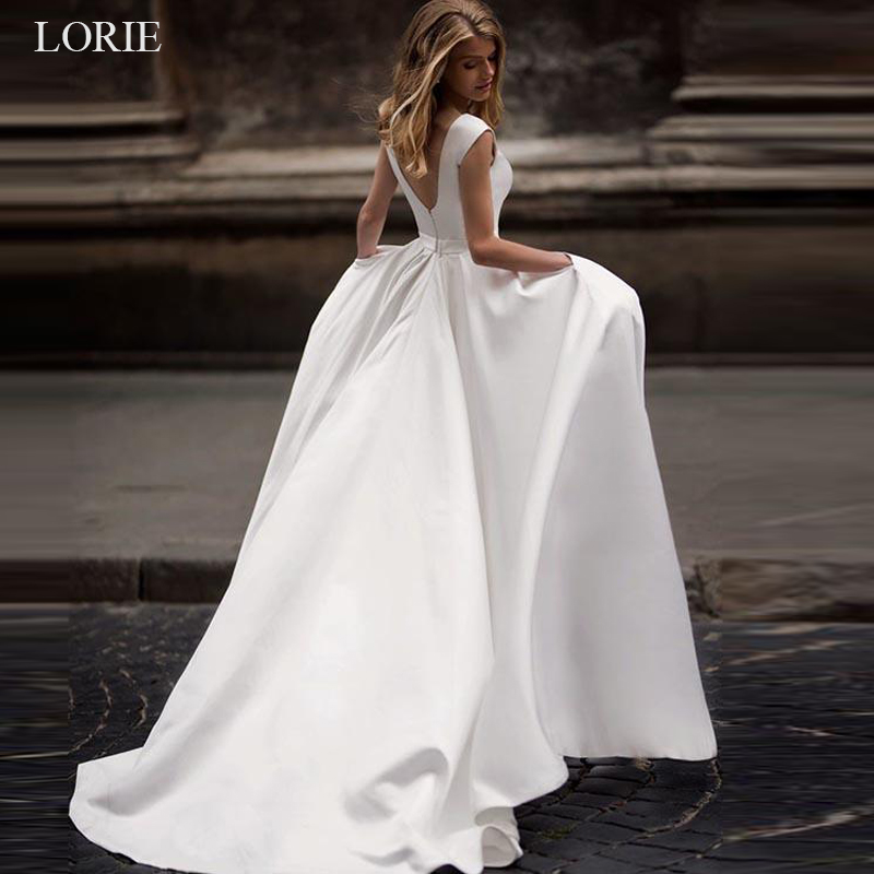 LORIE Fashion Brand Wedding Dresses 2019 Stain Bridal Gowns Vestido De Noiva Simple Sexy Open Back Sleeveless Wedding Dresses