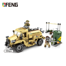 цены Military Series Truck model building blocks Army Armored Vehicle soldier figure bricks Compatible toys children gift