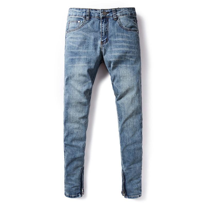 Fashion Streetwear Men Jeans Classical Ankle Zipper Hip Hop Pants Hombre Blue Color Elastic Skinny Jeans Homme DSEL Jeans Men