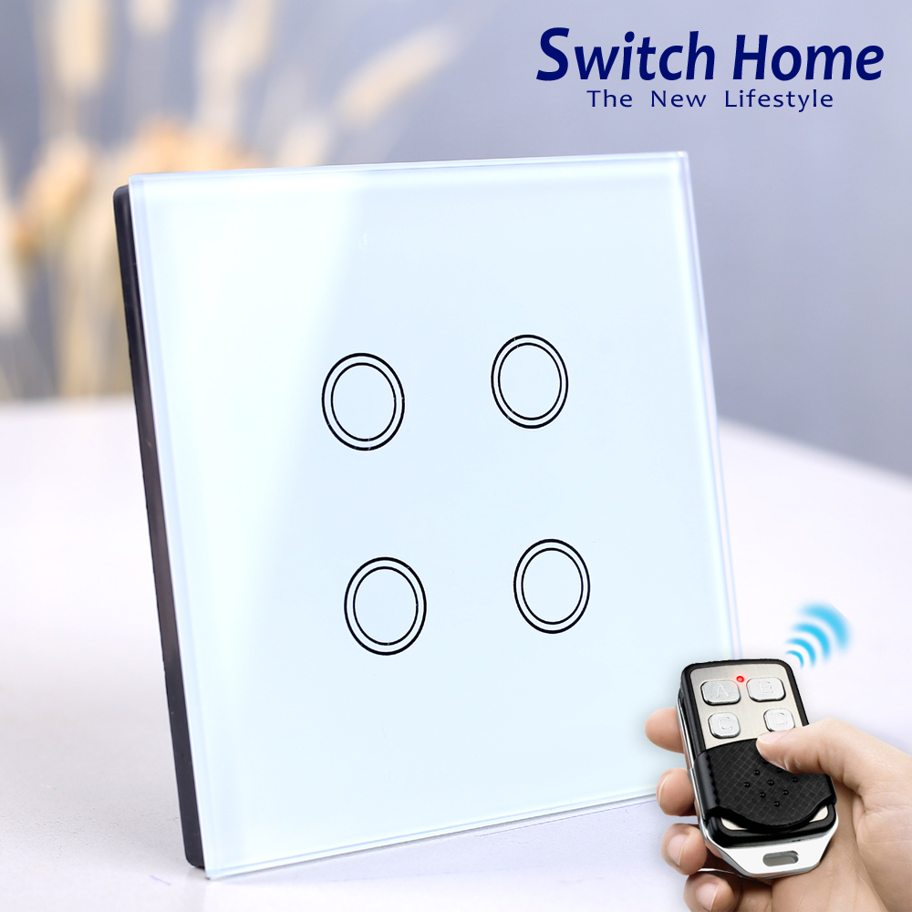 <font><b>4</b></font> <font><b>gang</b></font> touch <font><b>switch</b></font>, Wireless Remote Control light <font><b>Switch</b></font>, Smart Sensor touch Wall <font><b>Switch</b></font>, Luxury Crystal Glass Panel Surface image