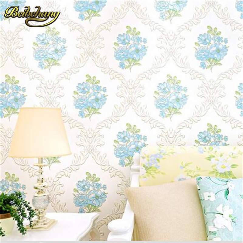 beibehang papel de parede European pastoral wallpaper living room bedroom TV backdrop non - woven three - dimensional relie