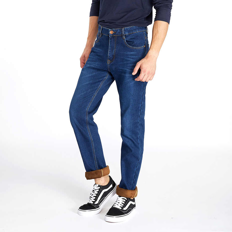 83c4a01176ee ... Drizzte Jeans Mens Winter Warm Fleece Flannel Lined Stretch Black Blue Denim  Trousers Pants Size 28 ...