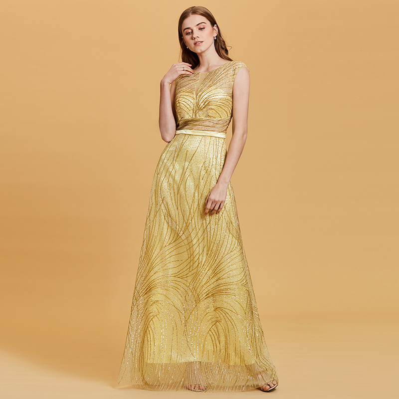 Купить с кэшбэком Tanpell lace gilding evening dress daffodil sleeveless floor length a line gown women party formal long backless evening dresses