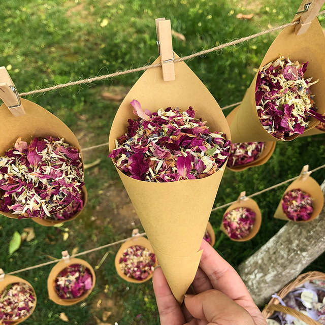 1 مجموعة الزفاف النثار زهور مجففة النثار للزينة الزفاف القابلة للتحلل الحيوي النثار دي Mariage Naturel بتلات الورد