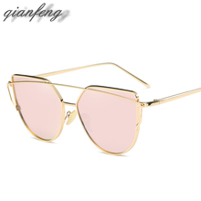 Fashion Pink Sunglasses For Women Glasses Cat Eye Sun Glasses Male Mirror Sunglasses Men Glasses Female Vintage Gold Glasses