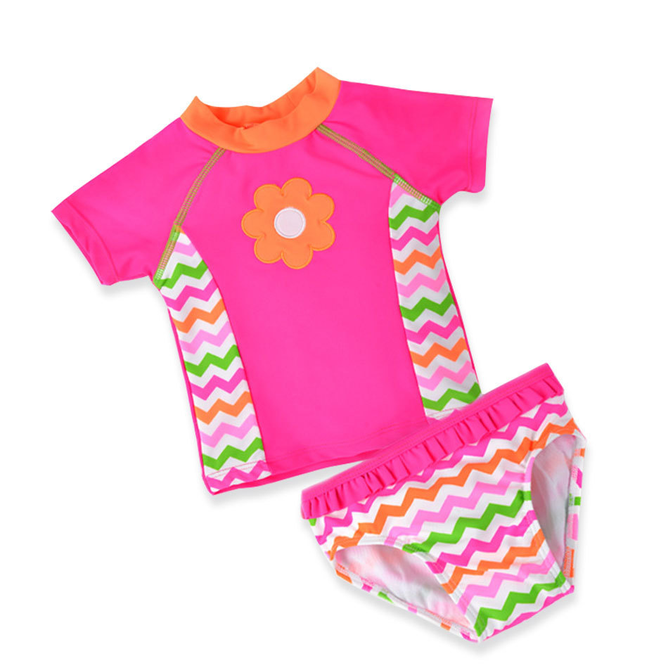 Baby Kids Girl Swimwear Short Sleeve Children Two Pieces Swimsuit Sun Protection Swimming Suits Sunscreen Beach Bathing Suit