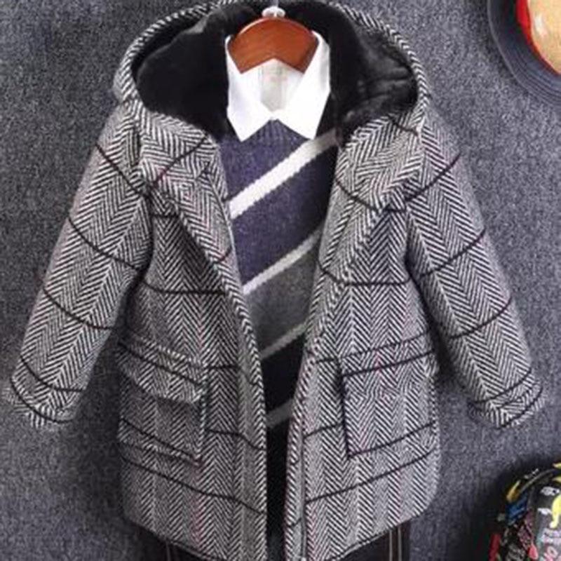 Boys wool outerwear fashion zipper children plus cotton padded woolen coat big boy baby long section boys new 2018 winter стоимость