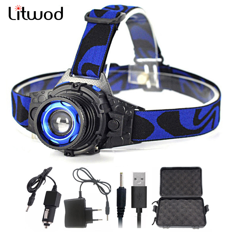 Litwod Z50 Cree Q5 Led Bright Headlamp Head Light Head Flashlight LED Headlight Build-in Rechargeable Battery Head Lamp Zoomable