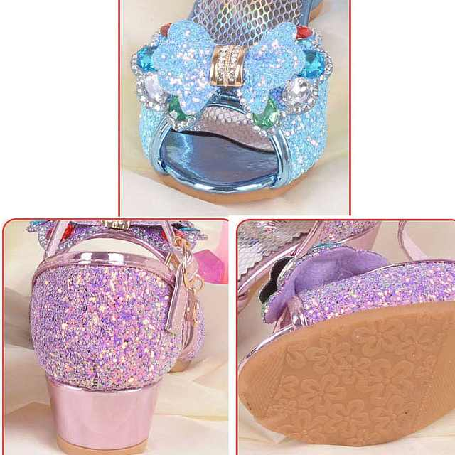 Girls Fancy Sandals Blue Pink Silver Bling Bling Kids Party Shoes Wedding  Elegant Dress Shoes For 07f8bb1a13c8
