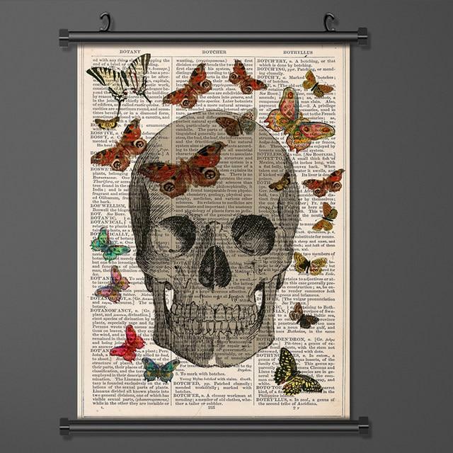 Online Shop Canvas Art Skull Butterfly Old Newspaper Wall Scroll ...