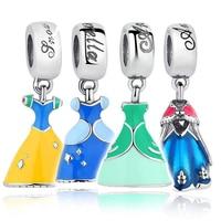 Gift Sterling Silver 925 Elsa S Dress Blue Charms Fit Original Pandora Bracelets Necklace Jewelry Accessories