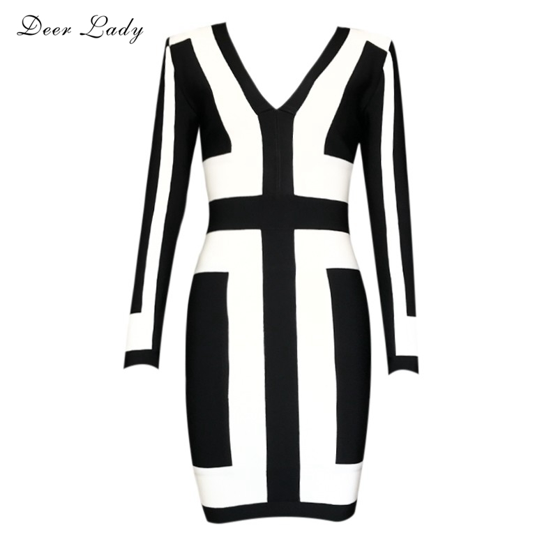 Free Shipping New Years Eve 2016 Women Sexy Deep v Neck Black and White Long Sleeve Graphic Print Bodycon Bandage Dress