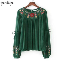 New Women Floral Embroidery Crepe Green Blouse Shirt O Neck Long Sleeve Frill Pullover Autumn Blouses