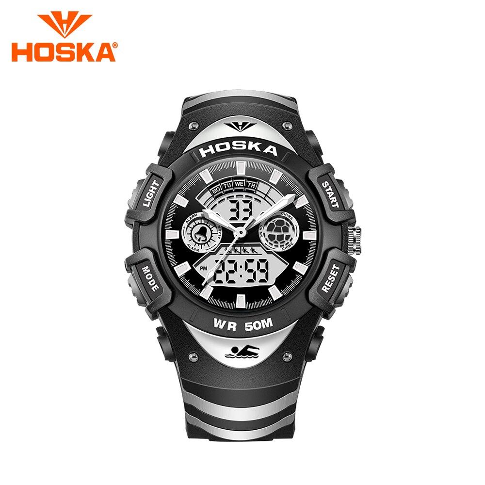 Brand HOSKA men s watch men digital watch Quartz watch two display student digital watch sport