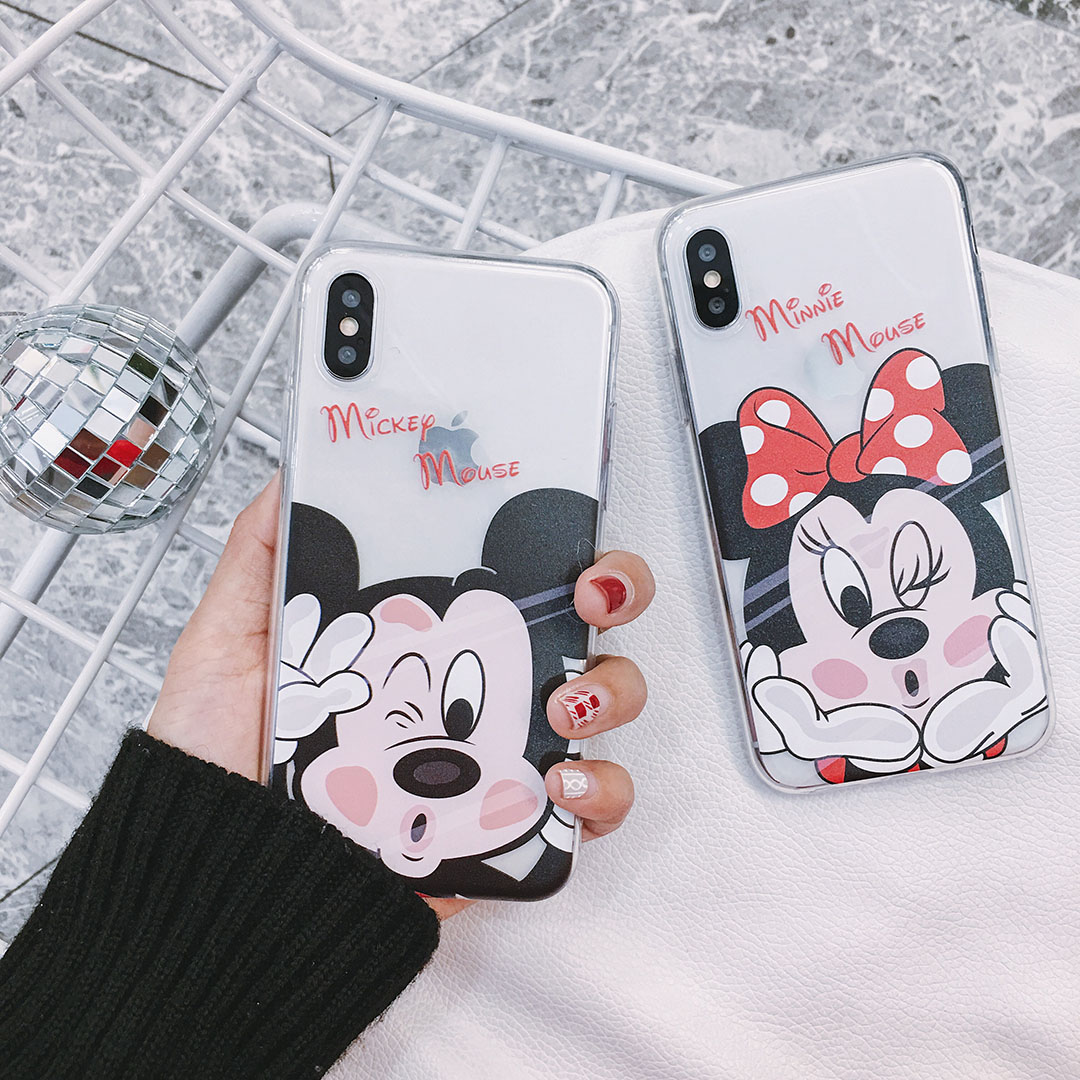 New Cartoon Case for Iphone 7 Clear Soft TPU Case for Iphone 8 Mickey Minnie Mouse Case for Iphone 7 Plus Protect Cover Case