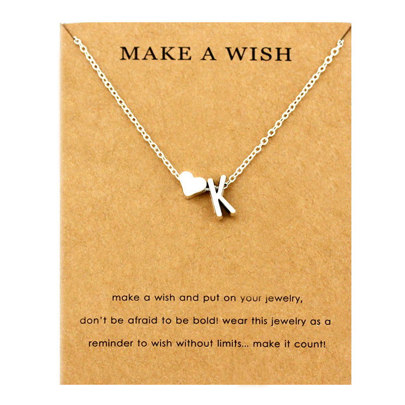 Сердце начальные Подвески ожерелье s персонализированное ожерелье с буквами Имя ювелирные изделия для женщин мужчин аксессуары подруги любовника пара подарок - Окраска металла: NE1665