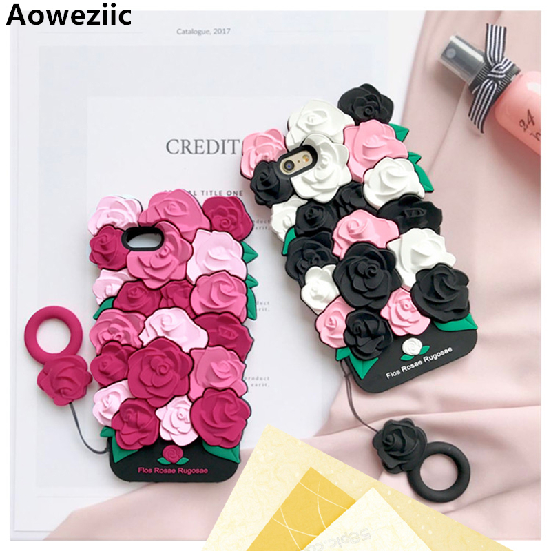 Aoweziic New Valentine gift luxury 3d rose flower romantic soft silicone phone case back For iphone 7plus 6 6s 8plus couple