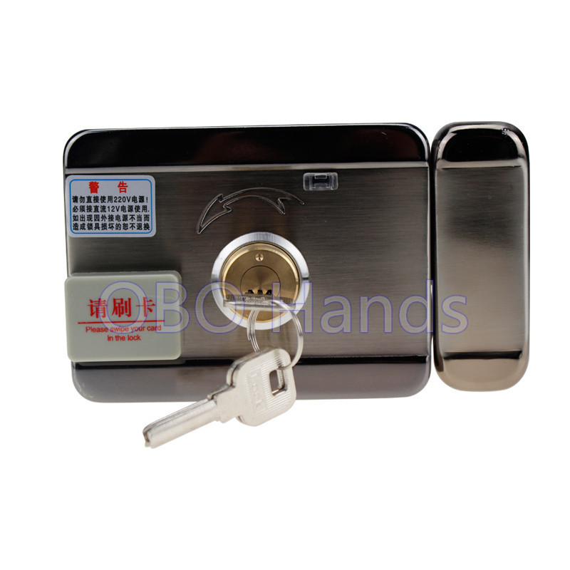 Access control lock metal mute electric lock RFID security door lock EM lock with rfid key card reader for apartment HOT SALE electronic rfid card door lock with key electric lock for home hotel apartment office latch with deadbolt lk520sg