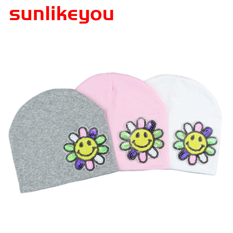 Sunlikeyou 2019 Spring Baby Girls Hat For Kids Newborn Caps Cotton Soft Sequins Toddler Sun Flower Beanie Bonnet Warm Baby Hat in Hats Caps from Mother Kids