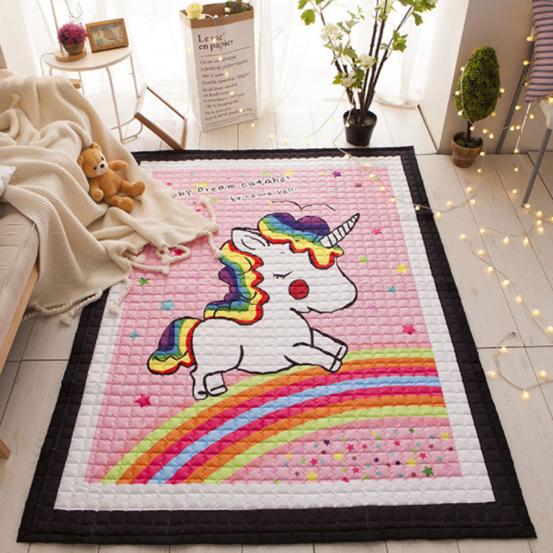Cotton Baby Play Mat Toys For Children's Nordic Playmat Carpet Animal Unicorn Mat for Kids Bedroom Play Room Game Rug Large 120cm play mat baby blanket inflant game play mats carpet child toy climb mat indoor developing rug crawling rug carpet blanket