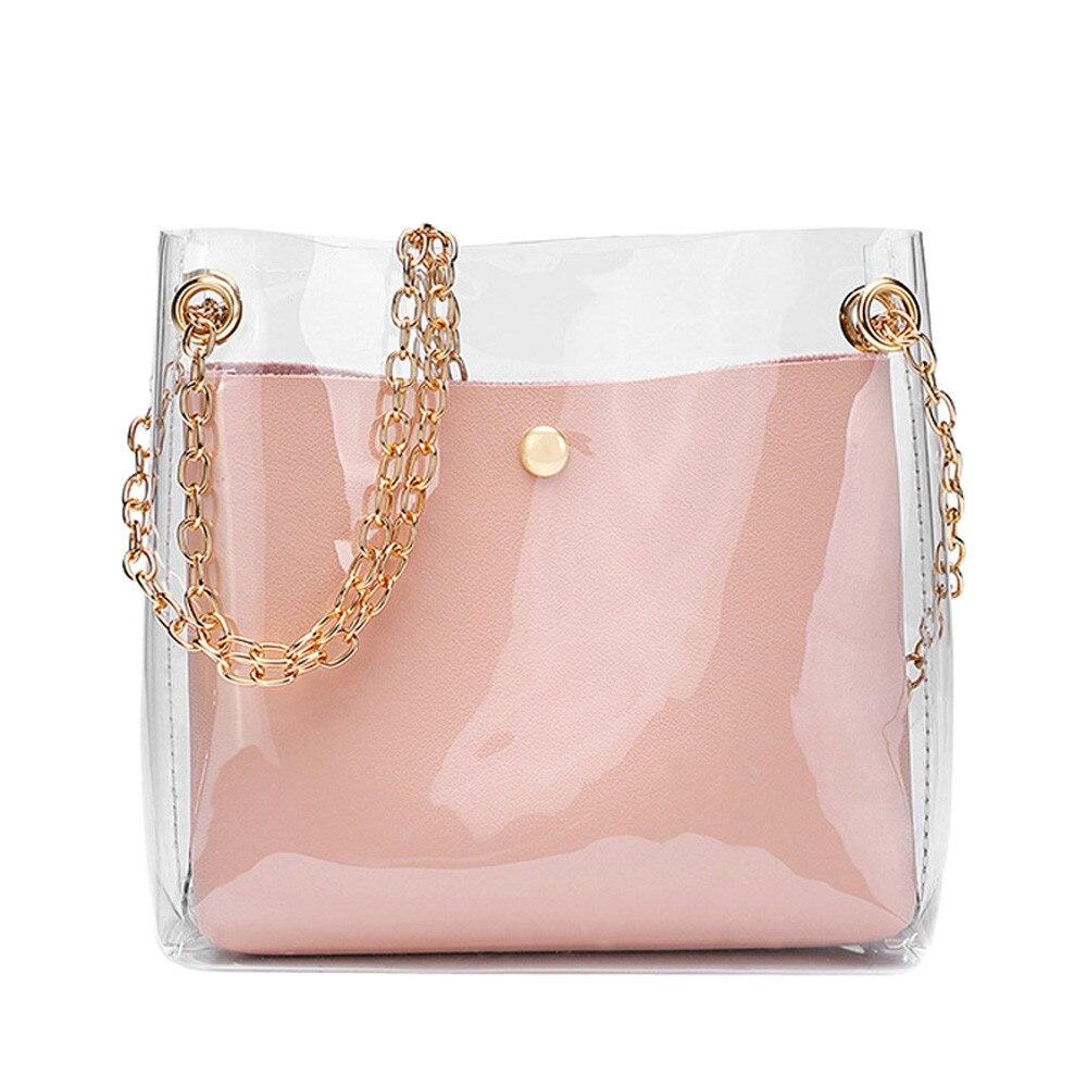 2018 Fashion Women Brand Mini Small Shoulder Bag Clear Transparent Drawstring Girls Cute Composite Bag Female Handbags 2 Pcs New алиэкспресс сумка прозрачная