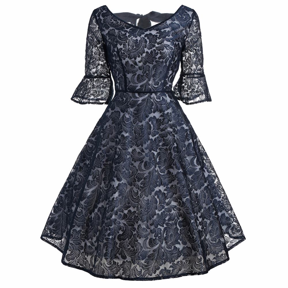 New Women's Shirt Dress Retro Lace Butterfly mid Sleeves V-neck at the back knee length Dress Waist-hugging Party Oct14