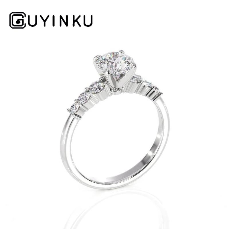 GUYINKU Moissanite Engagement Ring Center 0.6ct 5.5mm EF Color Moissanite With Solid 14k White Gold Ring For Women