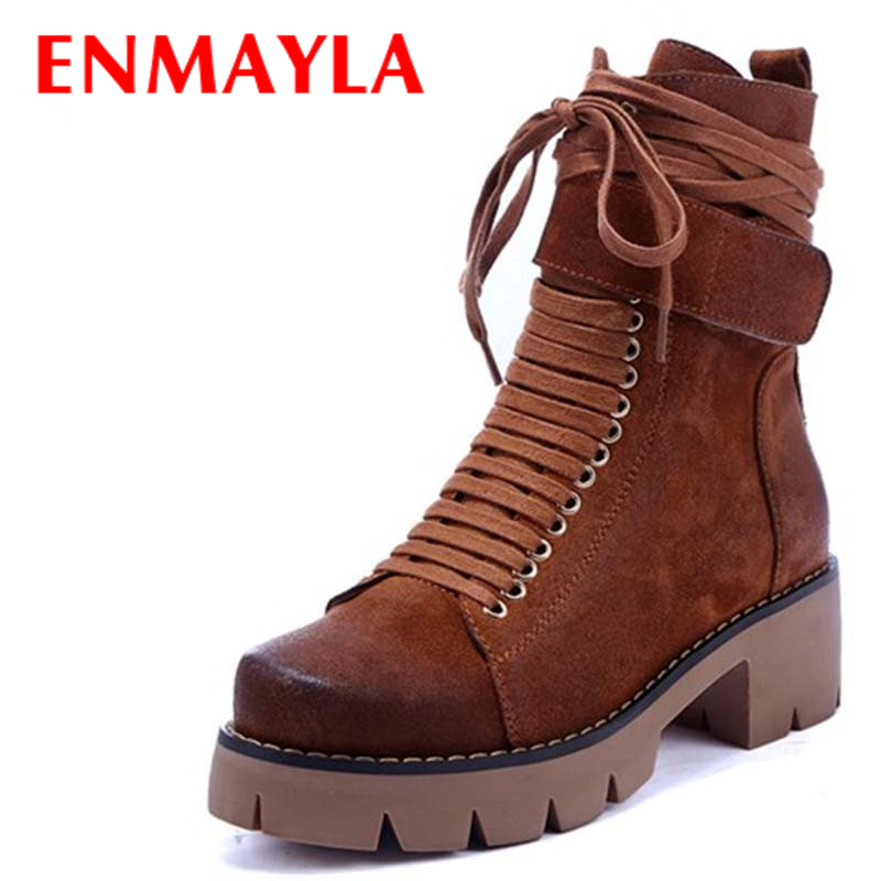 ENMAYLA Black Motorcycle Boots Shoes Woman Square Heels Round Toe Lace-up Spring and Autumn High Quality Ankle Boots for Women enmayla autumn winter chelsea ankle boots for women faux suede square toe high heels shoes woman chunky heels boots khaki black