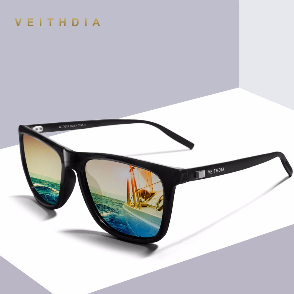 VEITHDIA Unisex Retro Aluminium + TR90 Polariserade Mens Solglasögon Märke Designer Spegel Vintage Driving Sun Glasses for Women Shades