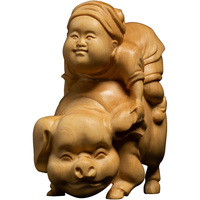 Riding Pig Happy New Year yellow wood carving creative Antique toys room decoration crafts characters solid Statues