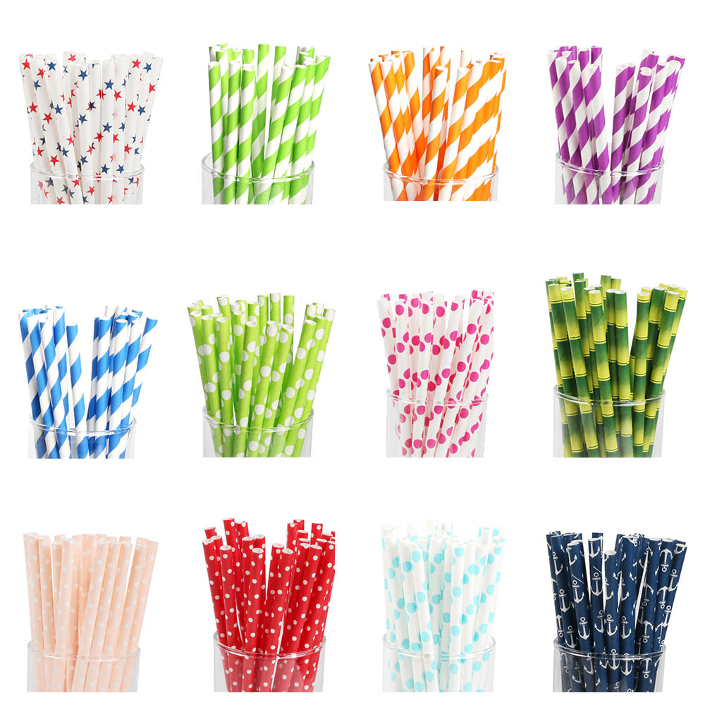25pcs Straw Drinking Paper Straws Favor For Wedding Decoration Anniversary Day Baby Shower Party Birthday Supplies