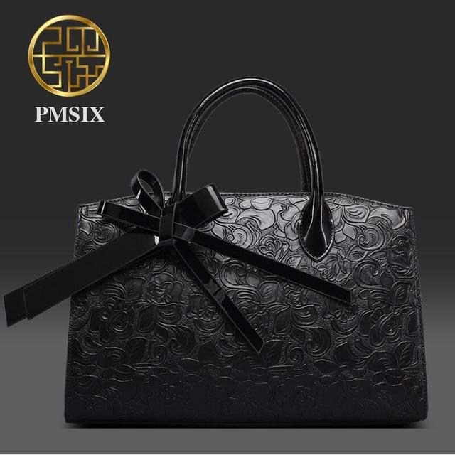 2017 Pmsix new fashion handbag embossed handbag black shoulder bag Messenger bag trend of temperament women bag