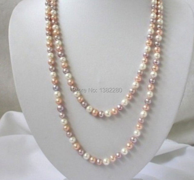 "Free shipping!7- 8mm White pink purple freshwater shell pearl necklace   50"" women fashion jewelry making design wholesale"
