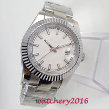 NEW Arrive 40mm White Sterile Dial Sapphire Glass Date Stainless stee Top Brand Luxury Automatic Mechanical Mens Wristwatches