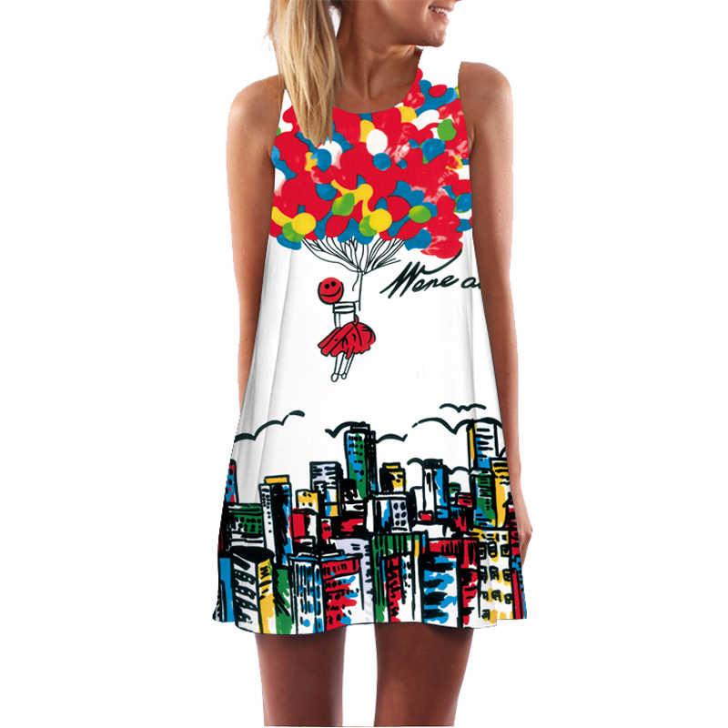 fa9e7242d6b5 Роковой ете 2018 летнее платье Для женщин Новое поступление милые короткие  бохо платье цифровой печати дамы