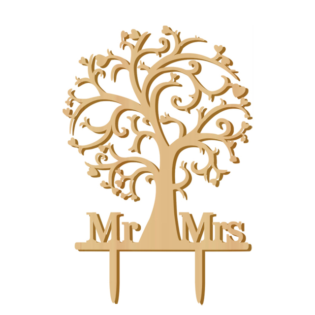 Wooden Wedding Cake Topper Mr&Mrs Tree Cake Toppers For Wedding ...