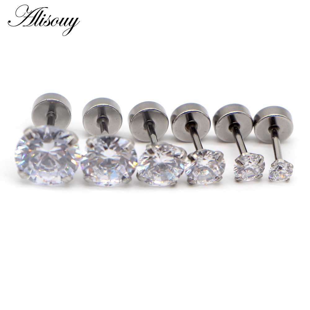 Alisouy 3-8mm Crystal Stud Earrings For Women Girls Stainless Steel Colored Round Rhinestone Earrings Stud Small Earrings 2pcs