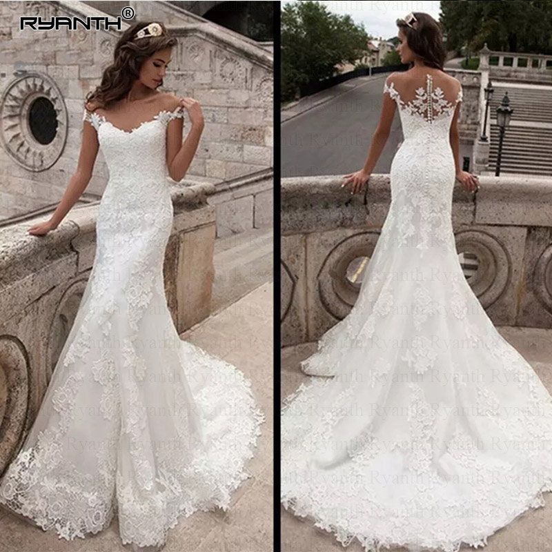 Ryanth Vintage Mermaid Wedding Dress 2019 Floor Length Bridal Gown Sexy Cap Sleeve Bridal Wedding Gown Court Train Tulle WR02