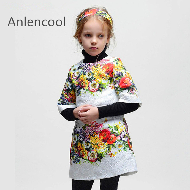 Anlencool Kids clothes European and American Style Half Sleeve Baby Girls Dress Red roses Dress Princess  Brand Kids Dress