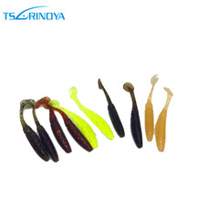 TSURINOYA 12pcs/pack Soft Worm Lures Fishing Worm with Paddle Tails 1g 5cm Swimbait Jig Head Soft Lure Bass Fishing Bait